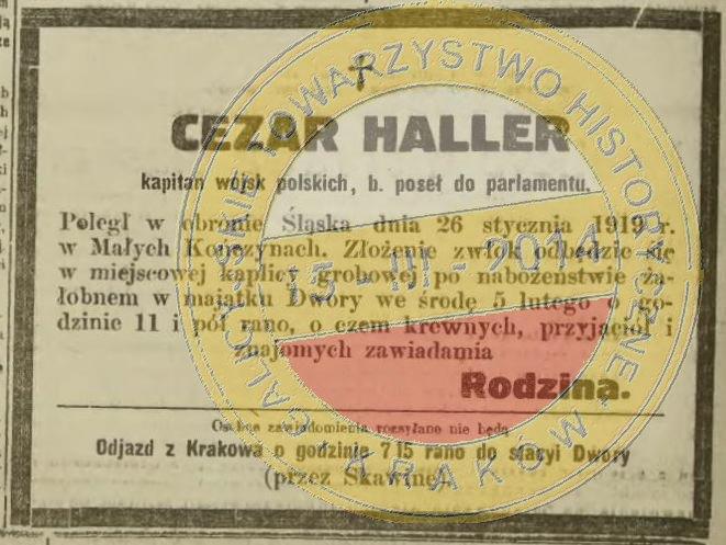 Nekrolog Cezarego Hallera.