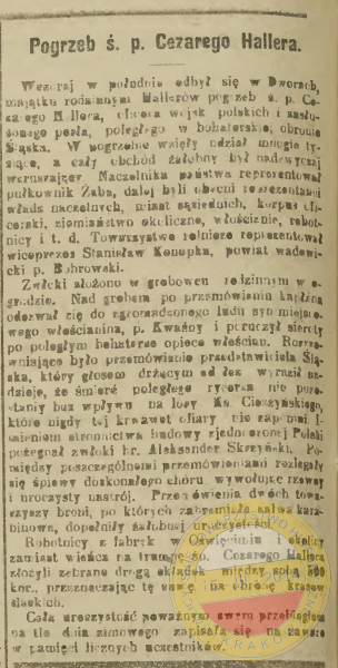 """Pogrzeb śp. Cezarego Hallera, """"Czas"""" 1919 z 7 lutego."""